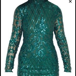 SOLD- Pretty Little Thing Seq Emerald Fringe Dress